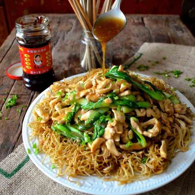 Dim Sum Pan Fried Noodles with Chicken