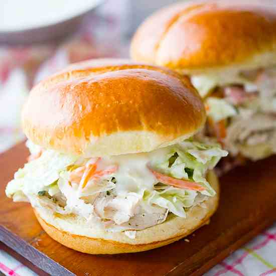Ranch Pulled Chicken Sandwiches