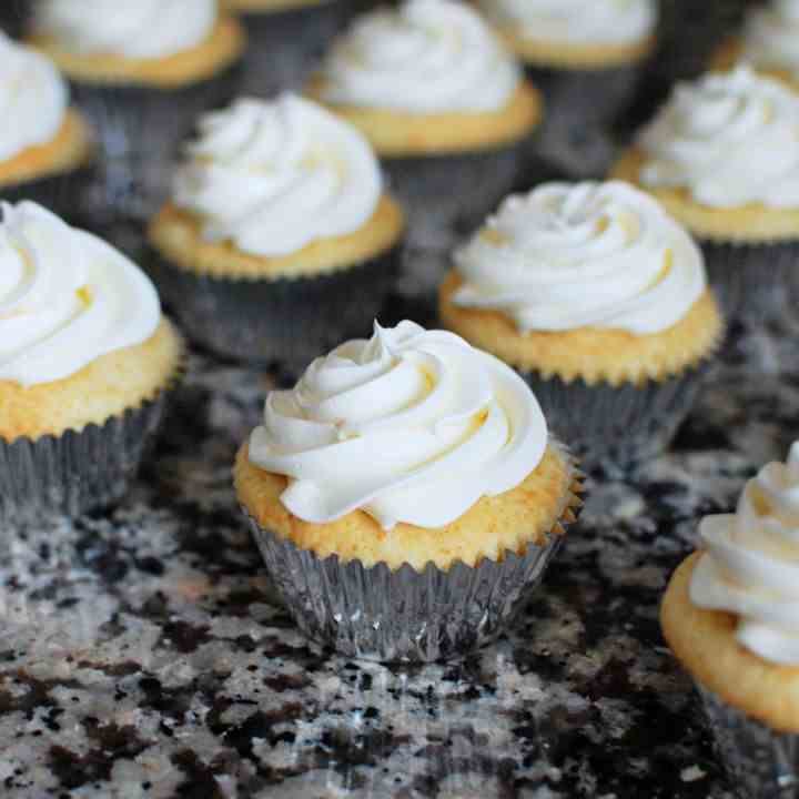 Yellow Cupcakes with Swiss Meringue Butter