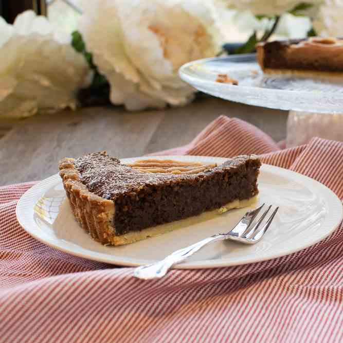 Chocolate, Hazelnut and Pear Tart