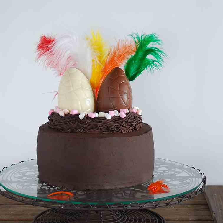 Easy chocolate nest easter cake