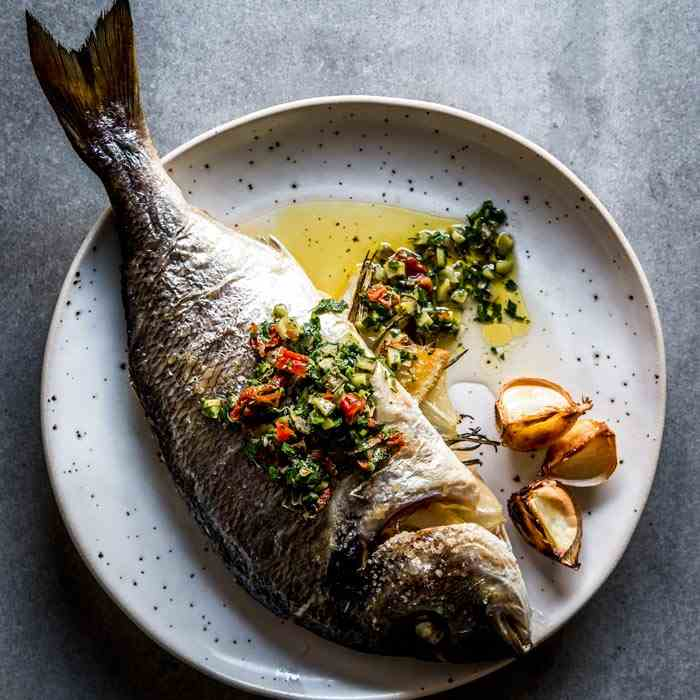 Baked Whole Fish with Garlic Butter
