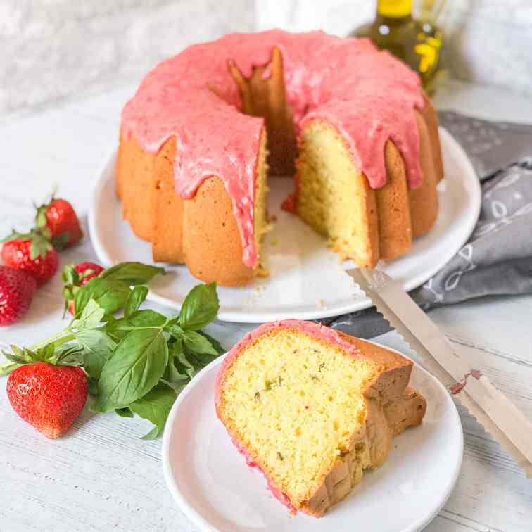 Basil Olive Oil Cake with Strawberry Glaze