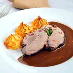 Wild boar and chocolate sauce