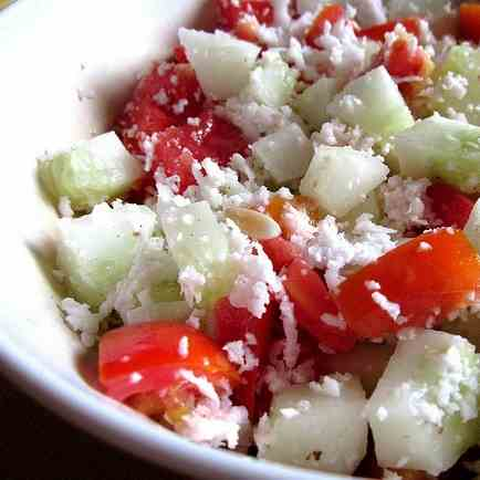 Cucumber and tomato salad with coconut