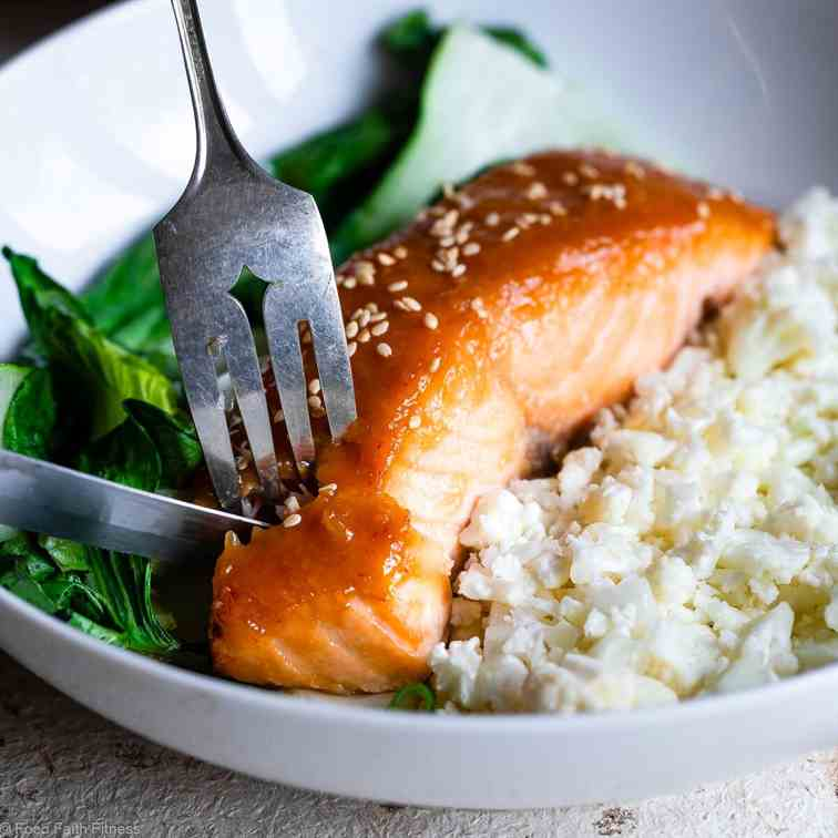 Honey Sriracha Miso Glazed Salmon