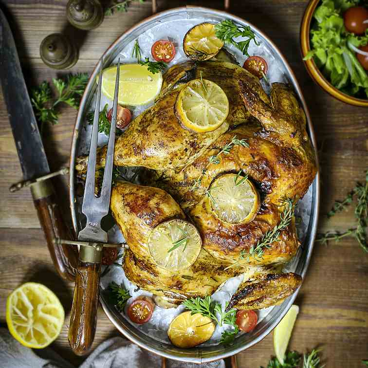 Herb Roasted Spatchcock Chicken