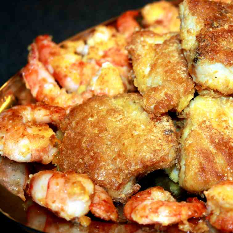 Sole and Prawns in a Potato flakes crust