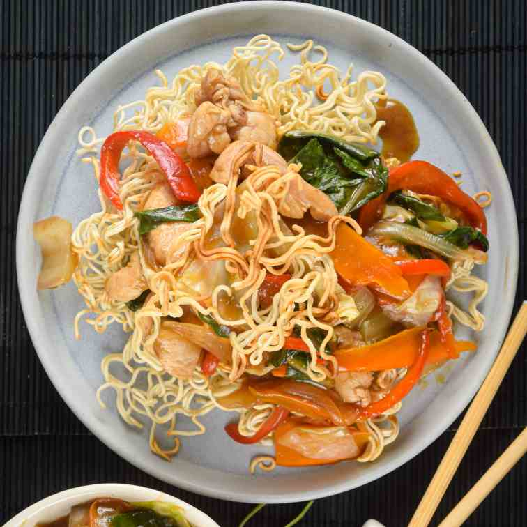 Electric Skillet Crunchy Chow Mein Noodles