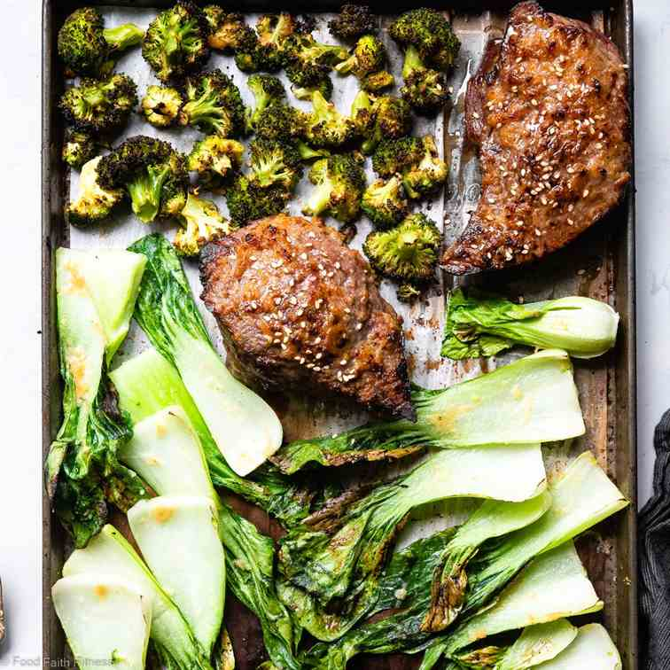 Asian Miso Steak Sheet Pan Dinner