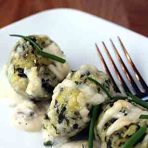 Spinach and goat cheese dumplings