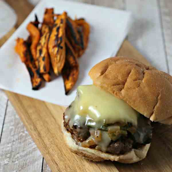 Queso Fundido Burger with Poblano Rajas
