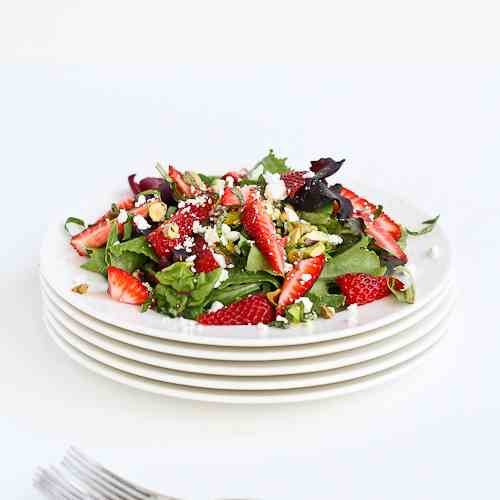 Strawberry, Pistachio, Feta & Basil Salad