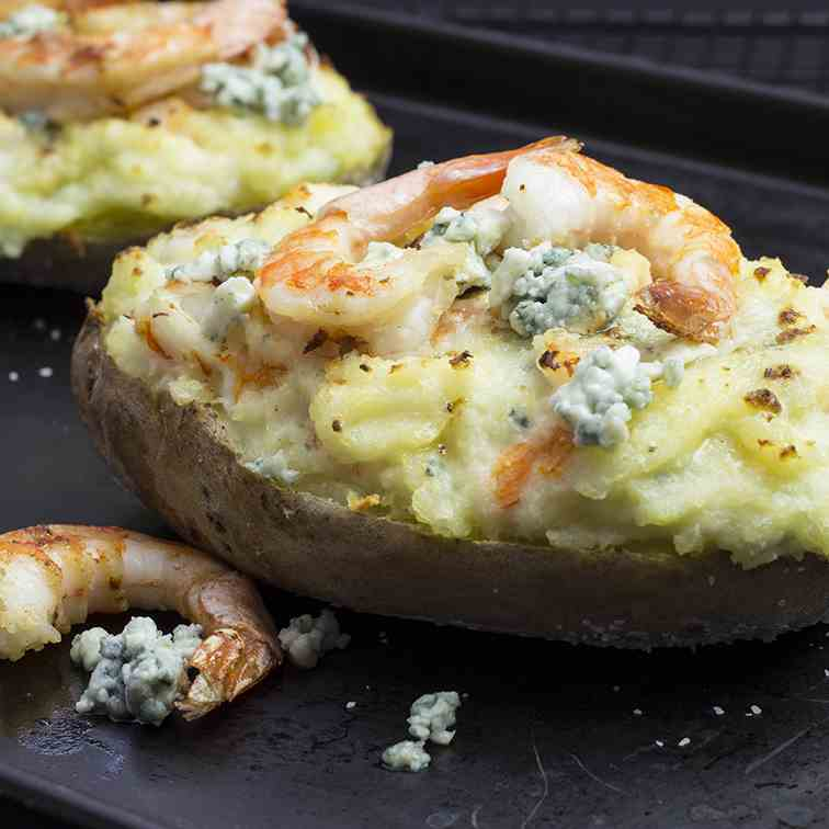 Twice Baked Potatoes Stuffed with Shrimps