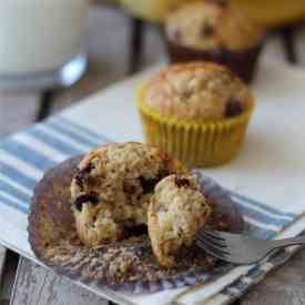 Banana oat and chocolate chip muffins